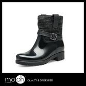 歐美羊毛毛線皮帶扣短筒雨鞋 保暖防水時尚短靴雨靴 mo.oh (歐美鞋款)