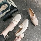 網紅高跟鞋女鞋2019新款秋鞋百搭粗跟單鞋中跟樂福鞋英倫風小皮鞋  Cocoa