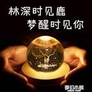 麋鹿水晶球音樂盒天空之城八音盒送女友閨蜜生日禮物透明圓球夢幻 夢幻小鎮
