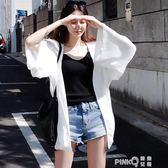 防曬衣女2019新款超仙防曬衫開衫外套夏薄款雪紡空調衫外搭中長款  (PINKQ)