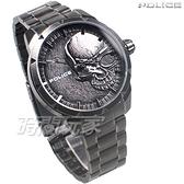 POLICE 義大利精品 個性潮流 仿舊 骷髏頭 男錶 不銹鋼 防水 手錶 IP黑電鍍 15715JSQU-78M