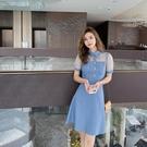 VK精品服飾 韓系優雅透視網紗拼接牛仔藍立領短袖洋裝