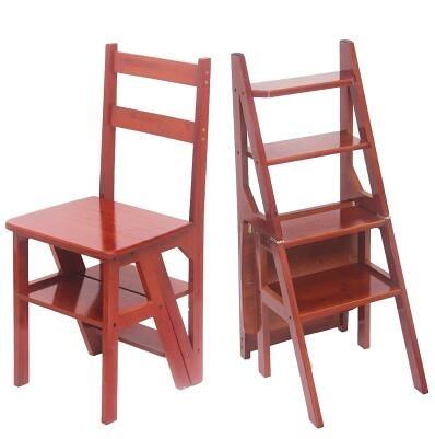 實木家用多功能折疊梯架創意樓梯椅梯凳室內多用【加強款四層《楠竹板》胡桃色】