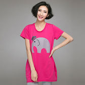 ★韓美姬★中大尺碼~短袖大象印花T恤套裝(XL/3XL)