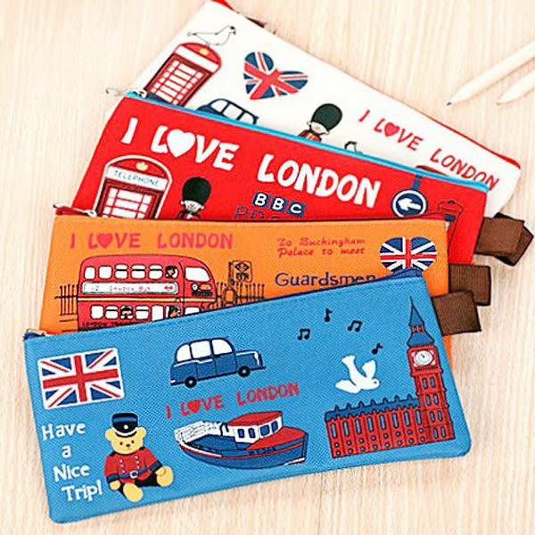 【BlueCat】I Love London 紅衛兵B6帆布長型筆袋