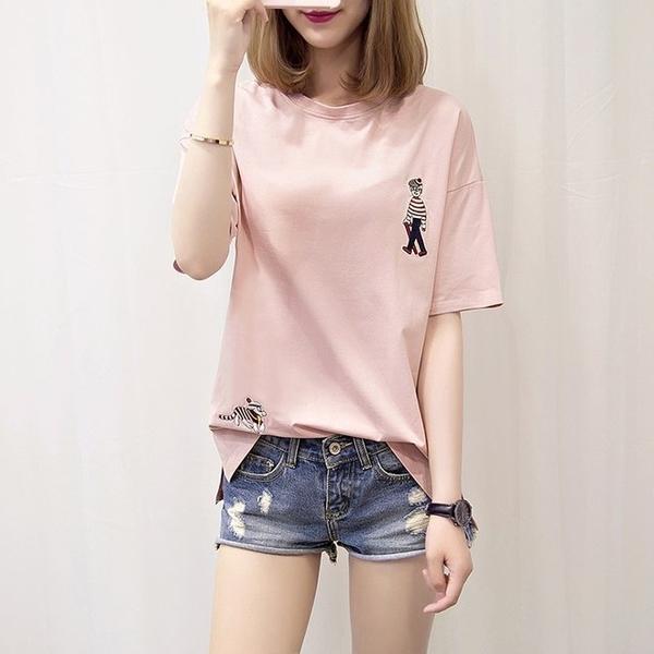 FINDSENSE G6 韓國時尚潮流 少女2019新款夏裝寬鬆大尺碼短袖T恤刺