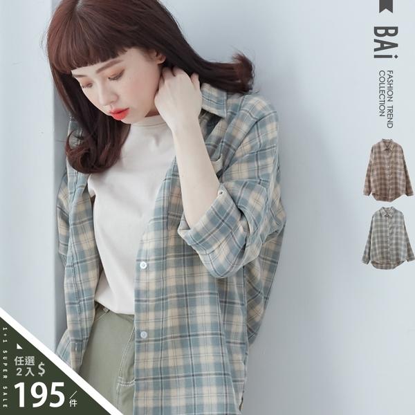 襯衫 復古色調格紋單口袋棉麻上衣-BAi白媽媽【315229】