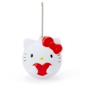 〔小禮堂〕Hello Kitty 大臉造型軟掐矽膠有聲吊飾《紅白》掛飾.鑰匙圈 4901610-63021