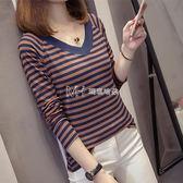 chic上衣韓版寬鬆條紋t恤女裝長袖學生打底衫  瑪奇哈朵