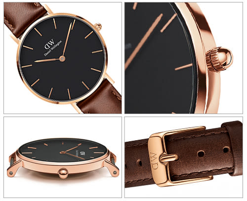 DW Daniel Wellington 經典聖莫斯皮帶腕錶-金框/32mm(DW00100169)
