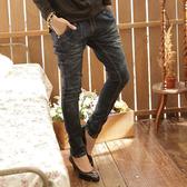 牛仔褲--經典剪裁纇哈倫褲勻染中腰窄管牛仔褲/鉛筆褲(S-7L)-N39眼圈熊中大尺碼◎