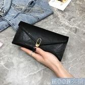 錢包 新款女士錢包女長款復古包蓋式三折錢夾大容搭扣多卡位零錢包 快速出貨