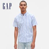 Gap男裝活力透氣花卉印花短袖襯衫579938-藍色豎條紋