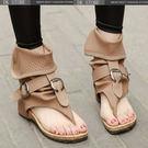 涼鞋 平跟夾腳 鞋皮帶扣羅馬涼鞋