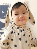 秋冬男女寶寶系帶帽子嬰兒護耳帽子幼兒長耳朵套頭帽 薇薇