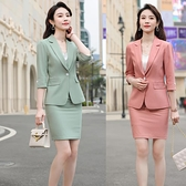 OL通勤職業西裝短褲套裝兩件套時尚洋氣女神范套裝3F115E紅粉佳人