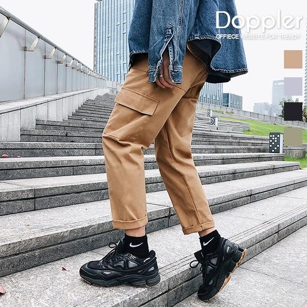 日系伸縮褲頭側口袋工裝褲