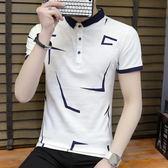 短袖POLO衫T恤男夏季印花半袖修身潮流休閒學生《印象精品》t199