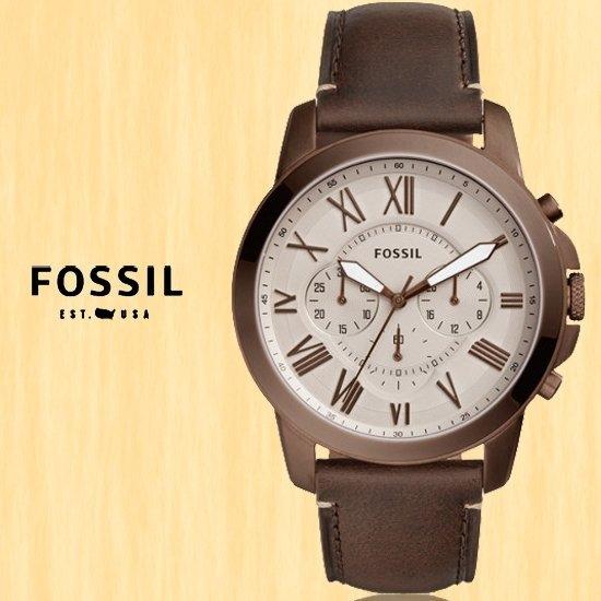 【南紡購物中心】FOSSIL美國品牌Grant都會紳士三眼計時真皮腕錶FS5344公司貨
