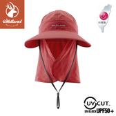 【Wildland 荒野 中性 抗UV可脫式功能遮陽帽《赭紅》】W1038/休閒帽/圓盤帽/釣魚/防曬/登山/護頸帽