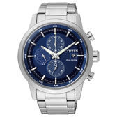 CITIZEN 星辰Eco-Drive光動能 簡約時尚三眼計時腕錶-藍/43mm CA0610-52L