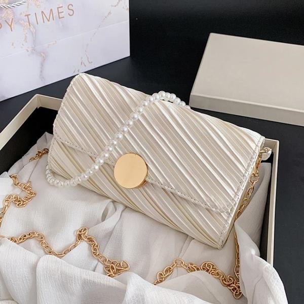 珍珠鏈條包 百搭質感高級小眾小包包女包2021新款潮時尚珍珠腋下包鏈條斜挎包 ww