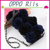 OPPO R11s 6吋 Plus 6.4吋 淑女風皮套 藍黑玫瑰保護殼 側翻手機殼 可插卡保護套 磁扣手機套 掛練