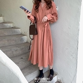 2020新款法式輕熟風裙子收腰顯瘦長袖洋裝女秋季氣質長裙襯衫裙 快速出貨