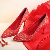 兩種鞋跟刺繡紅色婚鞋新娘鞋宴會鞋回門鞋淺口單鞋細跟高跟鞋女鞋