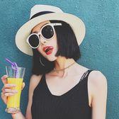 巴拿馬草帽英倫禮帽正韓休閒百搭沙灘帽子女夏天防曬遮陽帽太陽帽