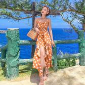 絕版38折 韓系V領性感波點不規則裙子荷葉邊無袖洋裝