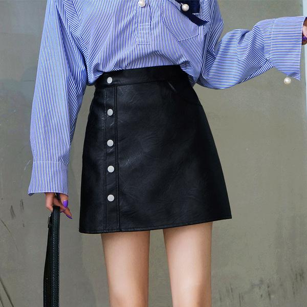 皮裙 2020新款小皮裙半身裙顯瘦氣質女秋冬季高腰pu短裙a字裙包臀裙子