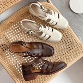 瑪麗珍鞋 學院風復古包頭涼鞋女田園風手工森系鏤空娃娃鞋真皮粗跟中空單鞋 瑪麗蘇DF