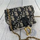 BRAND楓月 Christian Dior 迪奧 經典藍緹花 仿舊金鍊 SADDLE NANO 小廢包 卡包 零錢包
