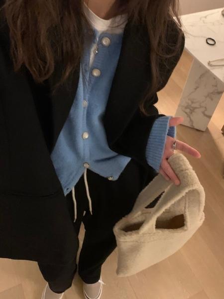 針織開衫 神仙天然扣の綿軟打底加厚針織開衫女短款內搭毛衣外套