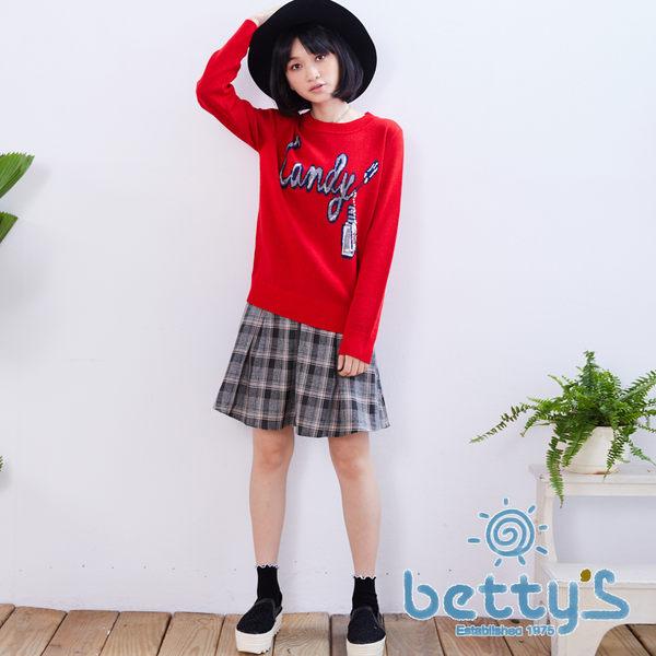betty's貝蒂思 英文亮片樣式毛衣(紅色)