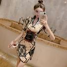 旗袍洋裝 2021年夏季新款時尚改良版網紅法式旗袍年輕款復古連身裙少女風裝