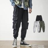 工裝褲 cargo工裝褲男九分褲寬鬆大碼秋冬季韓版機能嘻哈休閒束腳褲