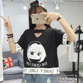 短袖t恤女夏季2018港味新款韓版原宿風bf風寬鬆學生半袖閨蜜裝潮-Ifashion