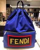 ■現貨在台■專櫃5折■ Fendi 全新真品 7VZ034 VOCABULARY 牛皮及PVC 手提後背兩用包 藍色