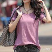大尺碼T恤女 大領口短袖棉質韓版寬鬆上衣2019新款夏季體桖潮 JY4661【Sweet家居】