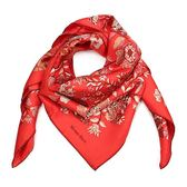 HERMES 蝴蝶與花真絲方型披肩圍巾(紅色)179125
