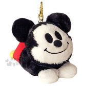 〔小禮堂〕迪士尼 米奇 絨毛造型伸縮票卡夾《黑紅.黃鞋.趴姿》 4548643-10888