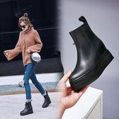 秋冬坡跟牛皮小短靴 馬丁靴女圓頭厚底馬丁靴女皮靴子新品全館免運加絨歐洲站