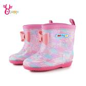 精品童雨鞋 中童 緞帶泡泡滿版圖樣 防塵防水 運動雨鞋 L7351#粉紫◆OSOME奧森鞋業