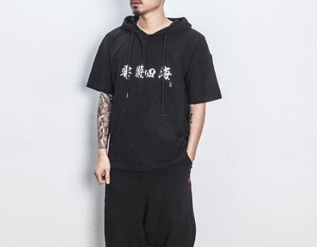 找到自己 MD 日系 潮 男 街頭 休閒簡約 亞麻 雲遊四海刺繡 連帽T恤 短袖T恤