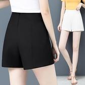 西裝褲 白色短褲女夏寬鬆超高腰雪紡a字西裝黑色寬管外穿熱褲薄-Ballet朵朵