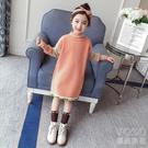 兒童洋裝 女童毛衣連衣裙秋冬季裝新款韓版洋氣兒童針織衫中長款毛衣裙 快速出貨