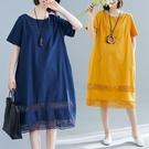 胖妹妹洋裝連身裙~6901下擺鏤空拼接大碼棉麻連身裙短袖FFA028A愛尚布衣