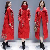羽絨外套 新品新款冬季外套民族風棉衣女中長版中國風加厚大尺碼羽絨棉服過膝【交換禮物】